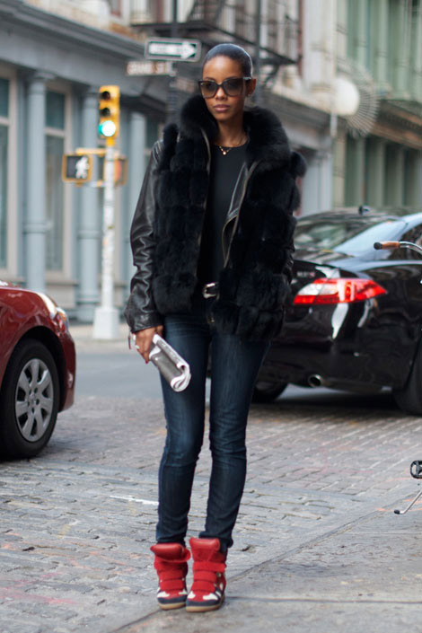 isabel marant fanny sneaker street style How To Wear & Style Your Sneakers In 2013 Winter?