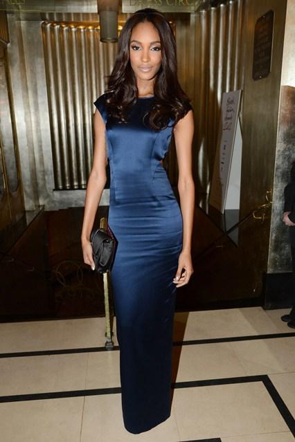 Jourdan Dunn - British Fashion Awards 2012- Topshop satin dress