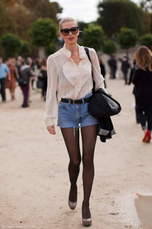 Model Street Style - Off Duty Look - Denim Short & Tights