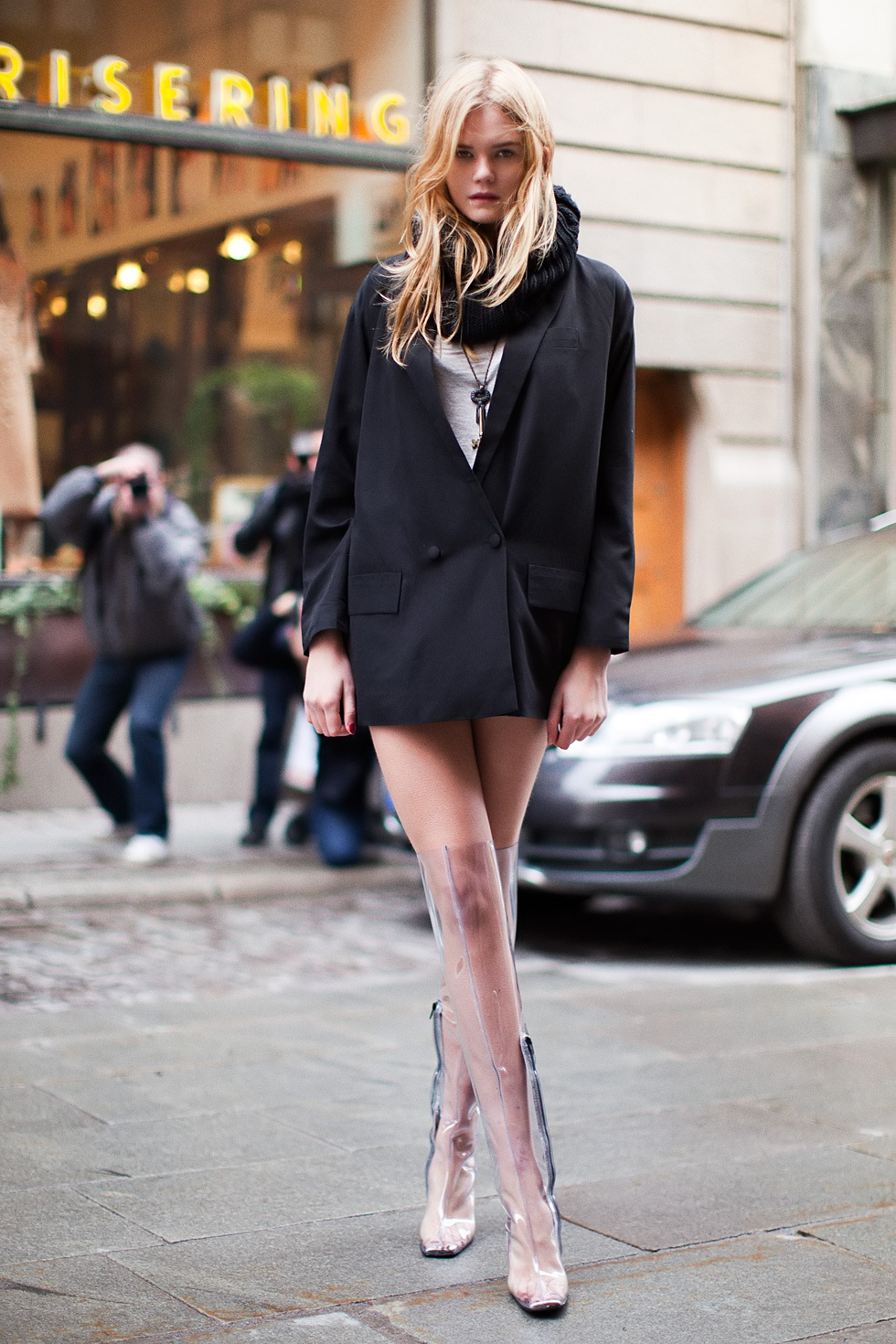 Model Street Style - Men Blazer & Transparent High Boots