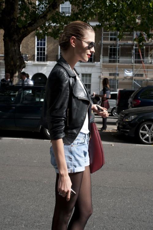 Model Off Duty Look - Denim Shorts & Leather Jacket
