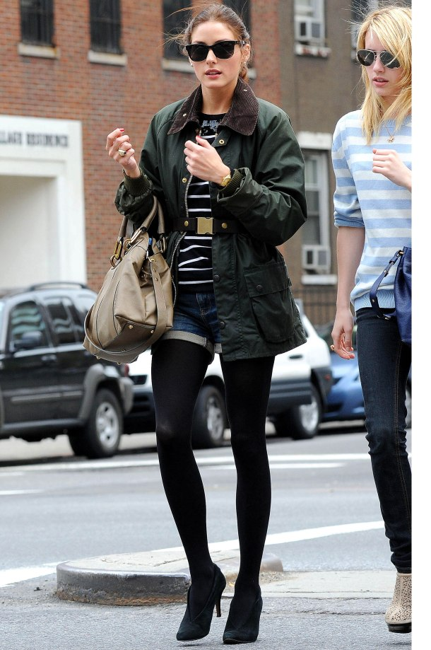 Olivia Palermo - black tights & shorts