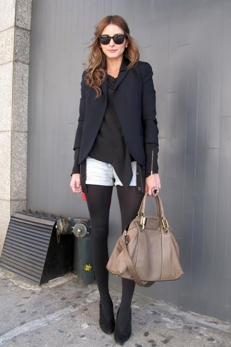Olivia Palermo - black tights & shorts