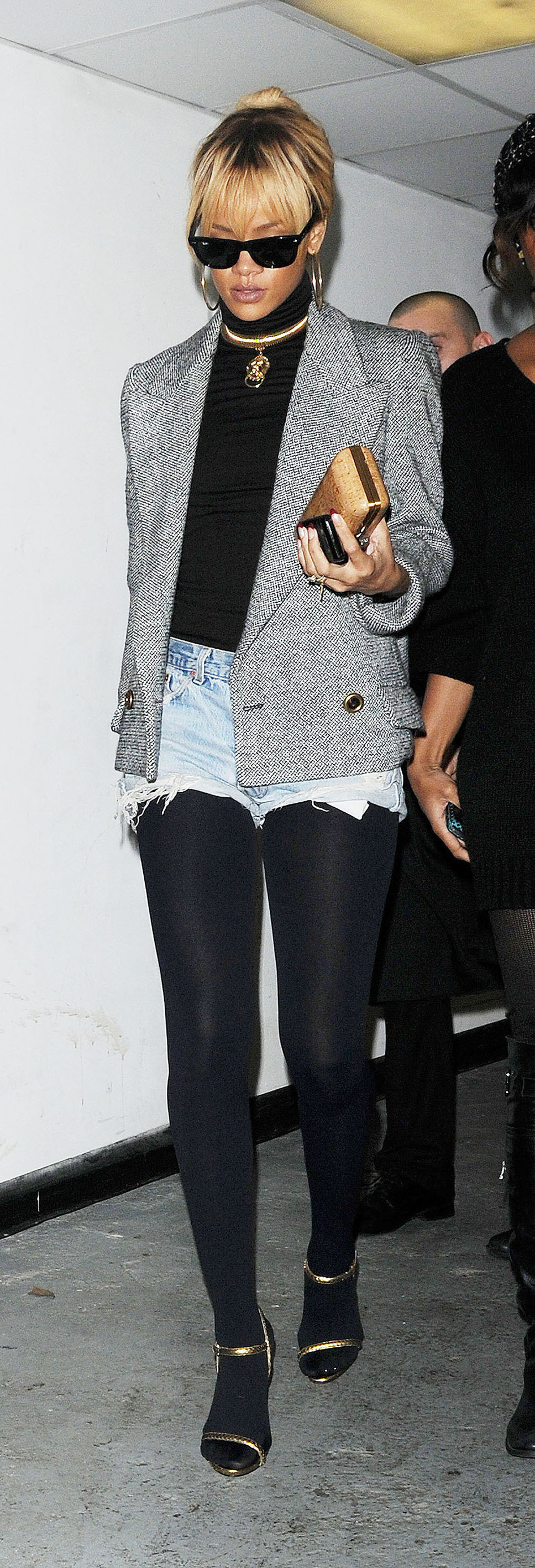 Rihanna - denim cutoffs & black tights