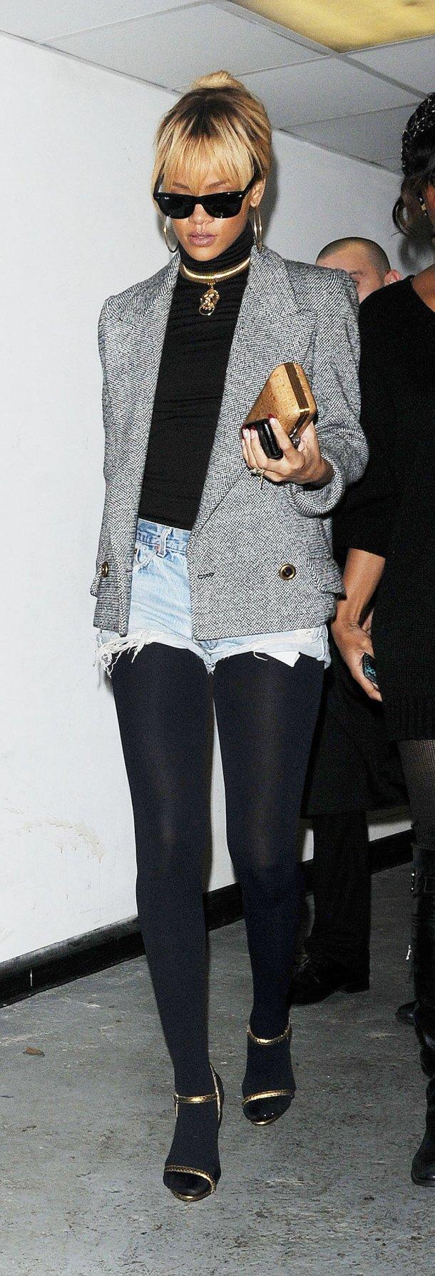 Rihanna - denim cutoffs & black tights