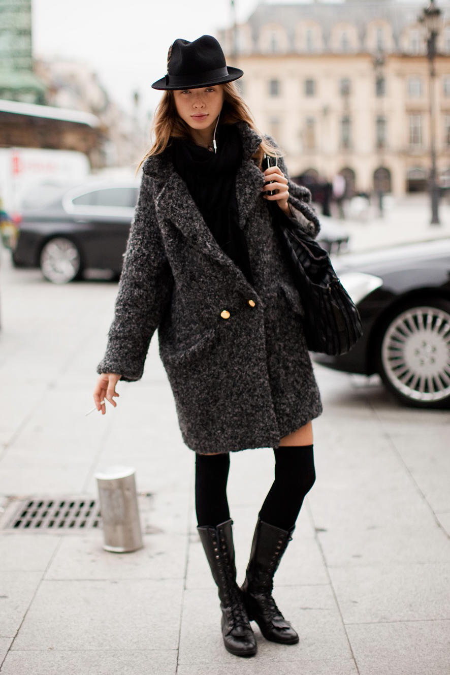 street style oversize coat hat Coat Styles For Winter 2013! What To Wear?