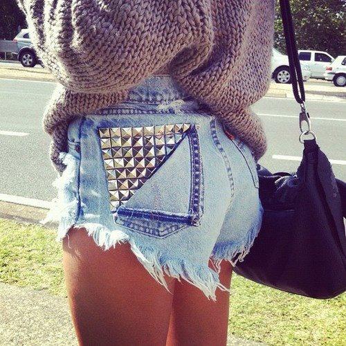 studded cutoffs Trend Alert    Denim Cutoff Shorts With Tights!