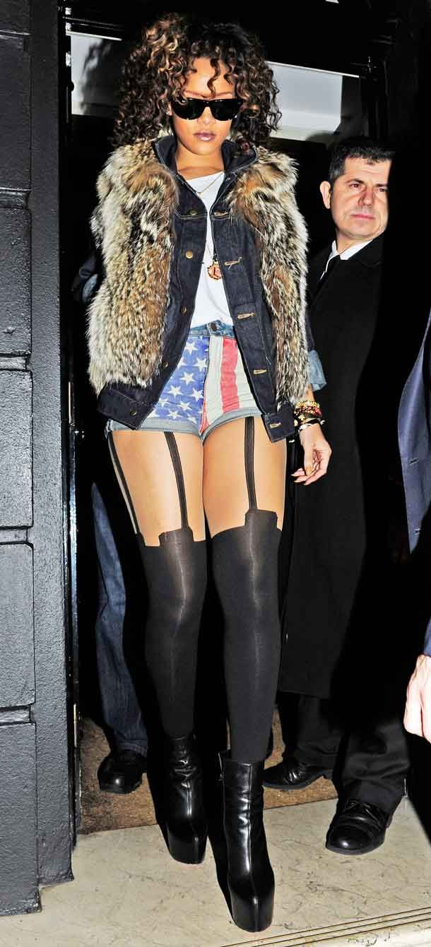 Rihanna - denim shorts & black tights