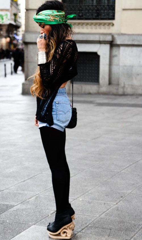 Denim Cutoff Shorts with Tights Trend Alert | Fashion Tag Blog