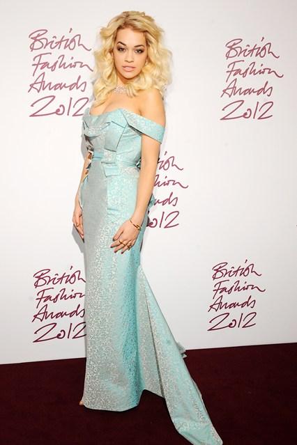 Rita Ora - British Fashion Awards 2012; in Vivienne Westwood dress
