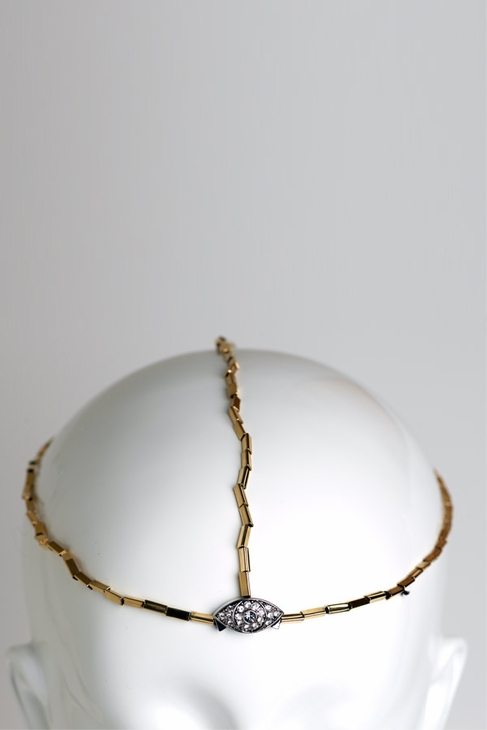 House of Harlow 1960 Gold Three Strand Headpiece in gold; $209.00