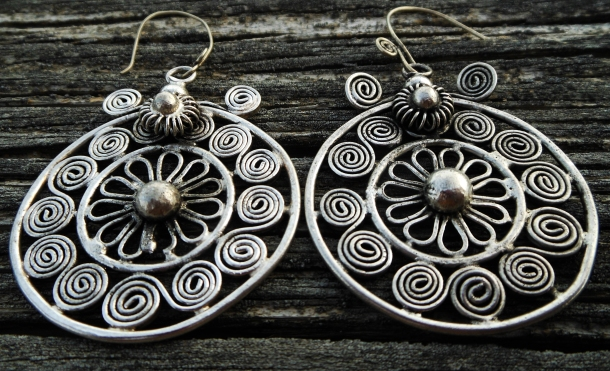 Handmade Miao Hmong silver coil wrapped earrings set