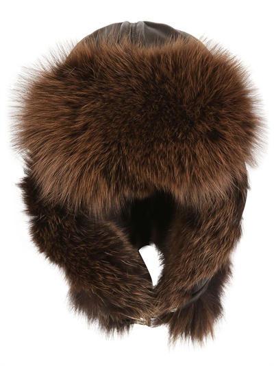 GREVI SILVER FOX AND LEATHER AVIATOR HAT from louisaviaroma