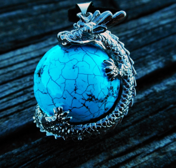 Turquoise Dragon pendant-cross-cultures