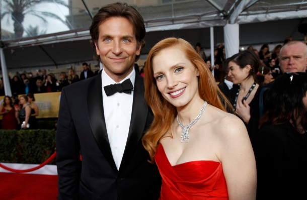 Actor Bradley Cooper and actress Jessica Chastain arrive at the 19th annual Screen Actors Guild Awards in Los Angeles