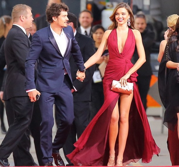 Miranda Kerr and Orlando Bloom arrive at 70th Annual Golden Globe Awards