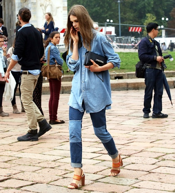 STREET-STYLE-FASHION-WEEK-MODEL-OFF-DUTY-caroline-brasch-nielsen-DENIMON-DENIM-CANADIAN-TUXEDO-CHAMBRAY-SHIRT-PATCHWORK-JEANS-C