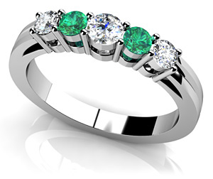 Five Across Alternating Gemstone Diamond Ring