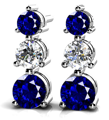 Three Prong Gemstone and Diamond Earrings