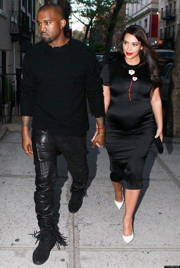 kim-kardashian-pregnancy-style-black-dress-white-heels