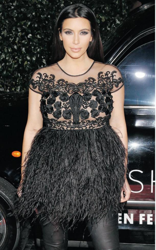 kim-kardashian-pregnancy-style-feathers-dress