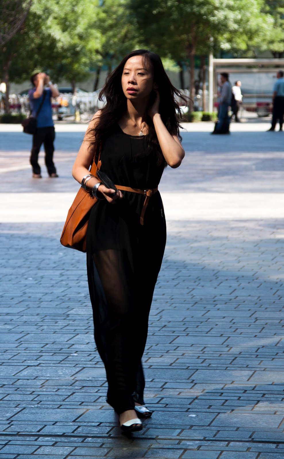 Black dress in summer -  Long Black Sheer Dress Streetstyle