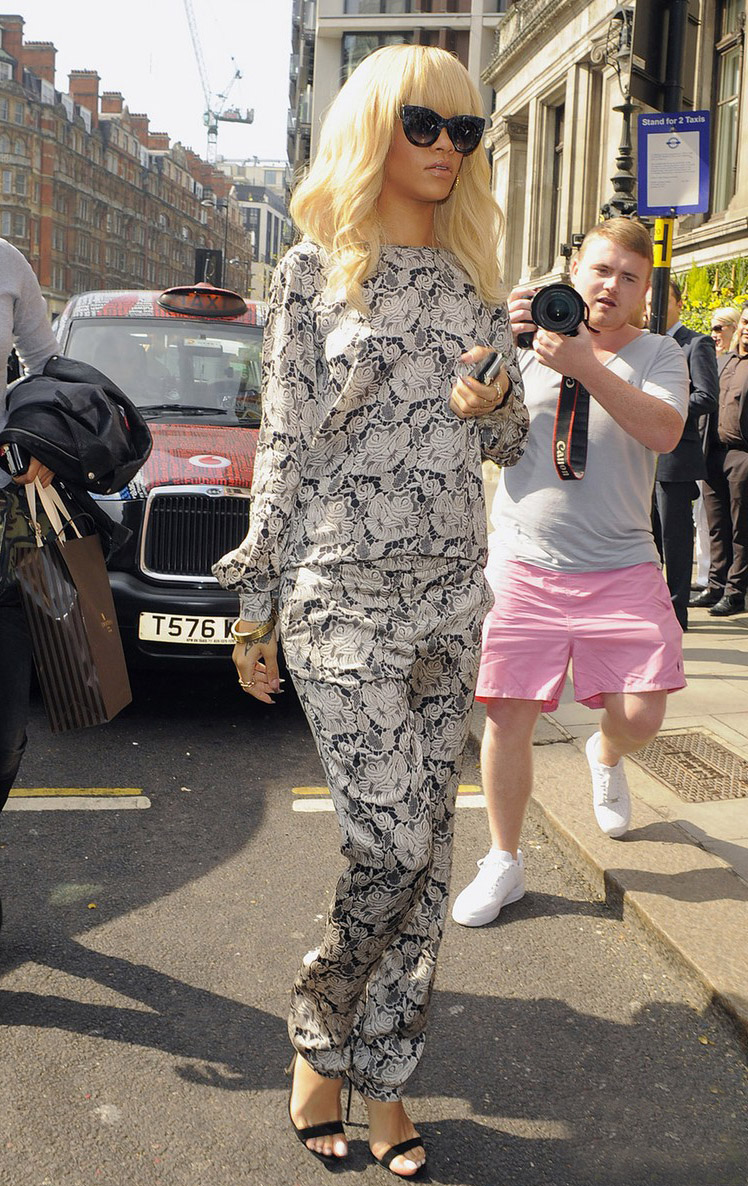 Singer Rihanna is seen arriving at a hotel in London