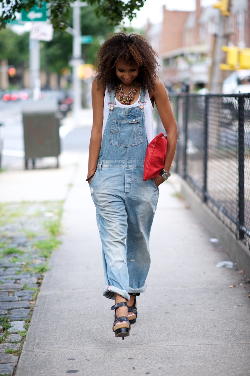 Denim dress overalls 70s fashion