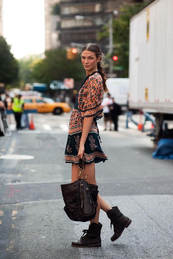 Karlie kloss-summer-boots-dress