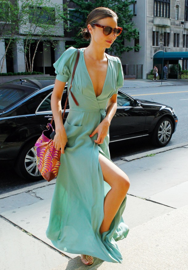 Australian supermodel Miranda Kerr seen looking stunning wearing a long silk flowing dress while leaving her apartment in New York