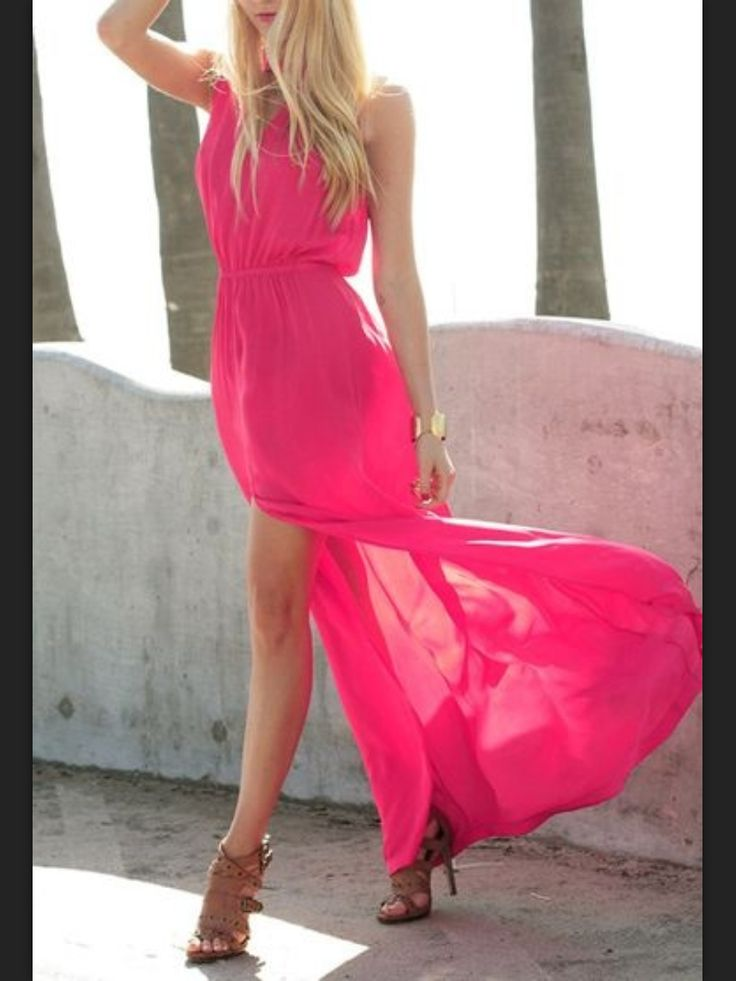 Hot Pink Flowy Dresses