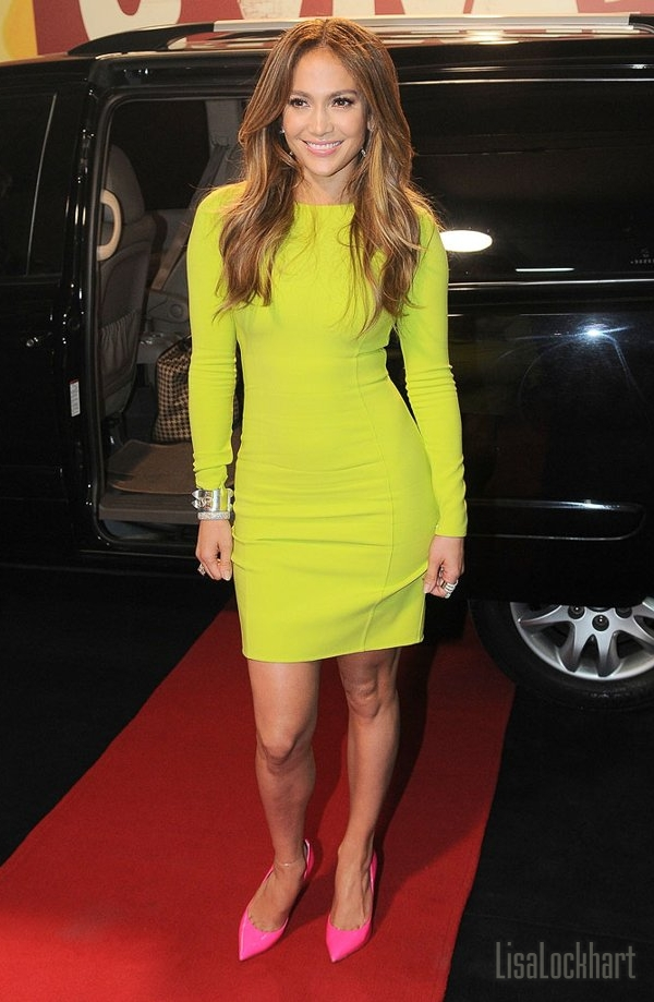 jennifer-lopez-neon-dress