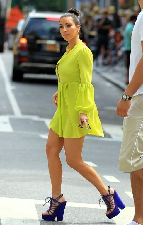 kimkardashian-neon-dress