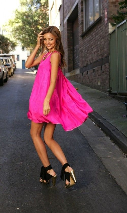 street style neon pink dress Dresses That Make Your Eyes Hurt!?