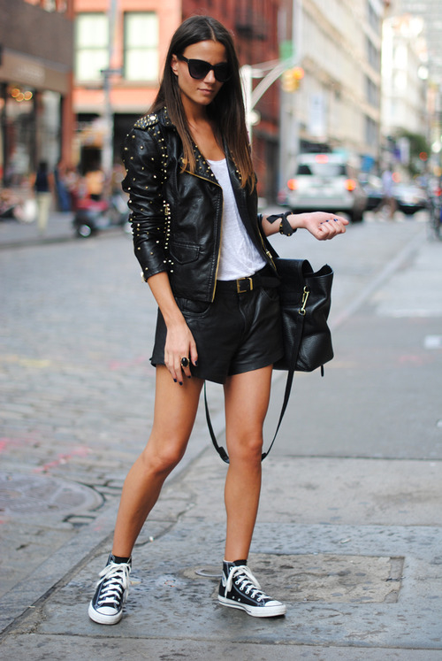 Leather-Shorts-and-long-sleeves-look