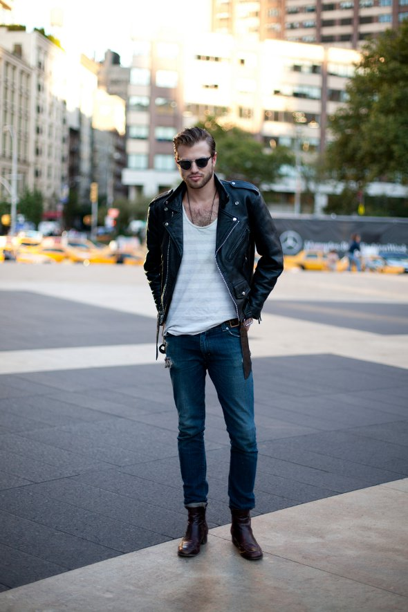 white v-neck jeans leather jacket new york fashion week mens street style Lincoln Center september 2012 final