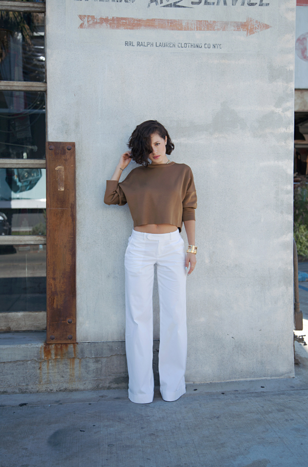 wide leg trousers cropped top