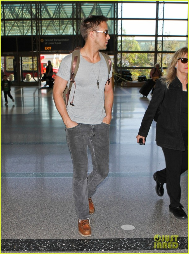 Ryan Gosling catches a flight at LAX