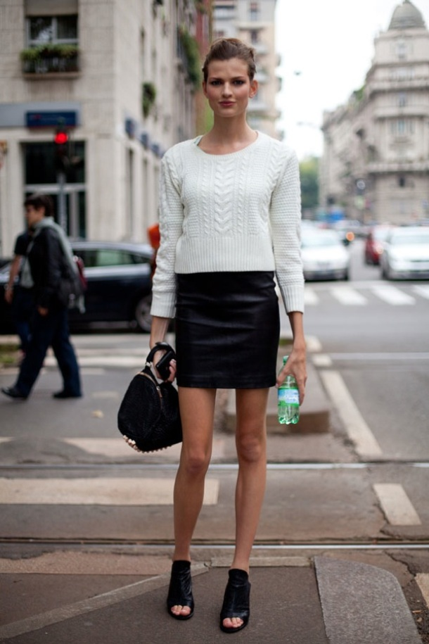 leather-skirt-knitted-sweater-style