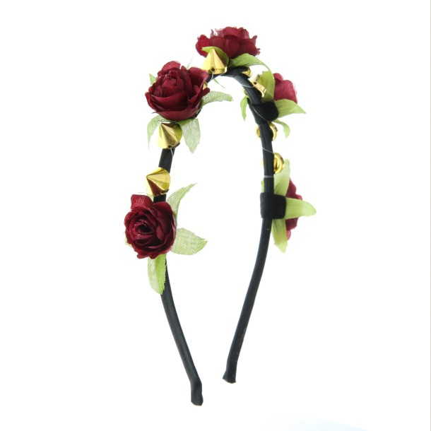 Dark Red Rosebud and Gold Spike Detail Headband-7-99