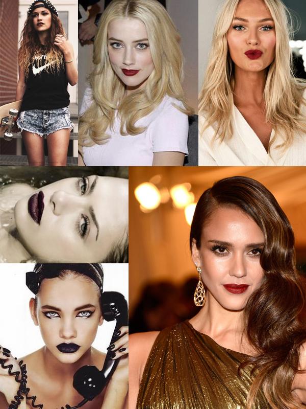 burgundy-dark-red-lips-look