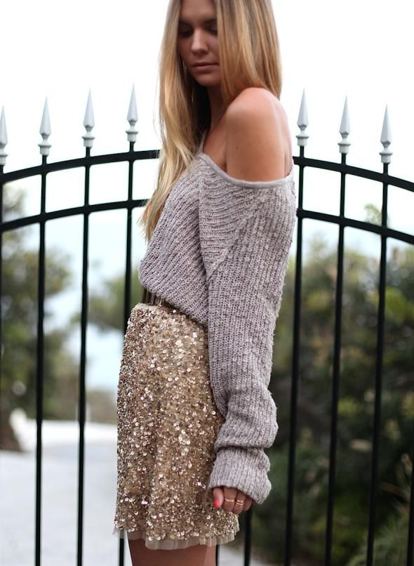 sequin-skirt-knitted-sweater-style