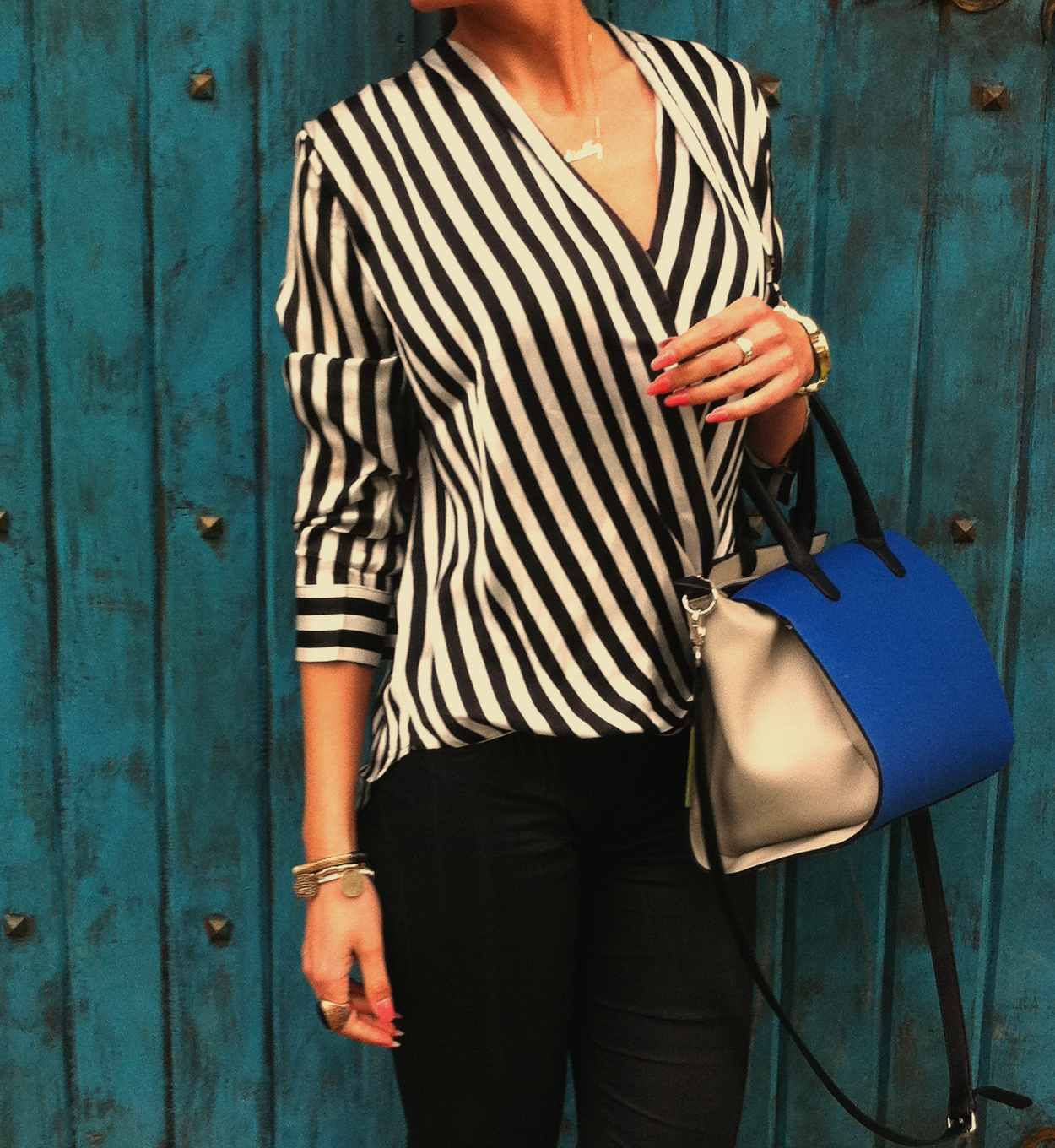 black and white striped blouse style Florals & Stripes