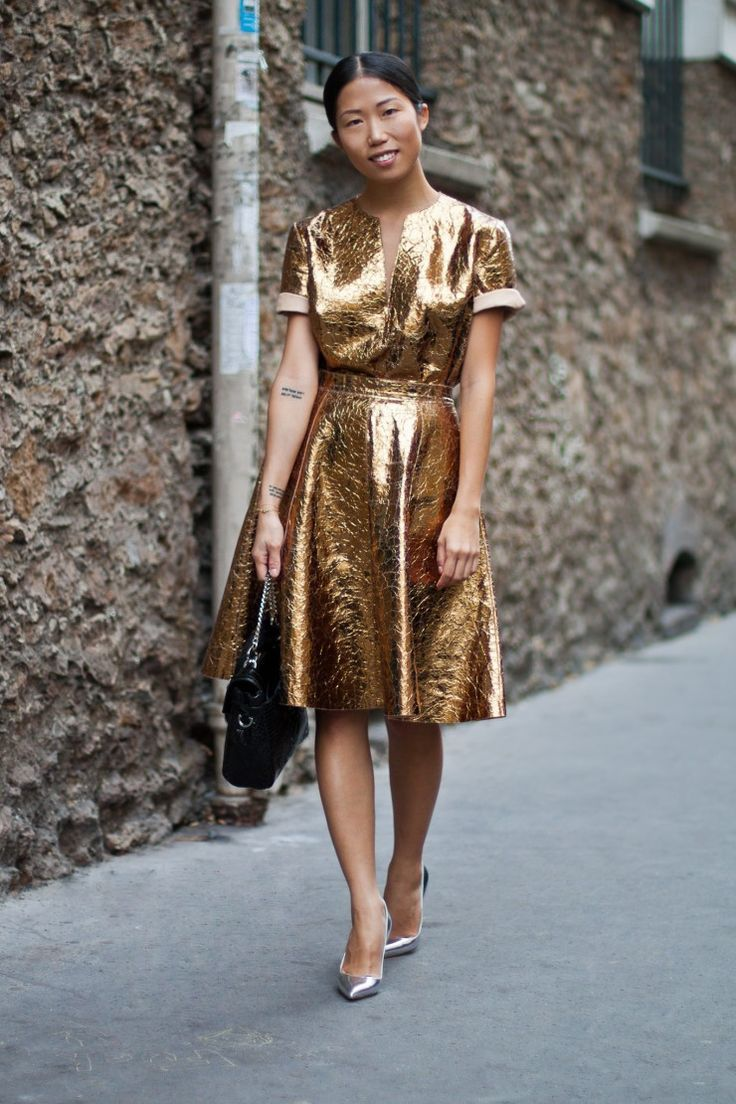 metallic-dress-style