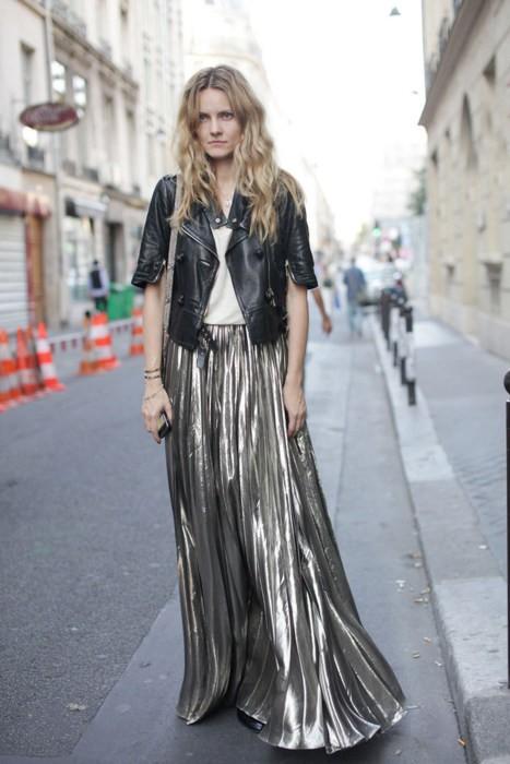 metallic-maxi-skirt-street-style