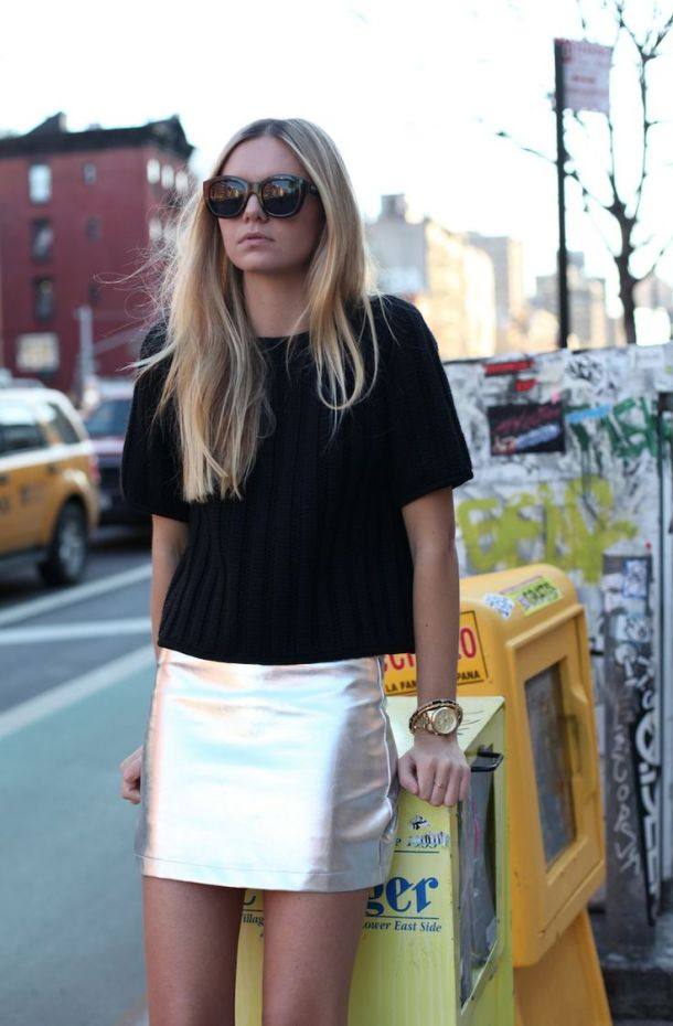 metallic-mini-skirt-street-style