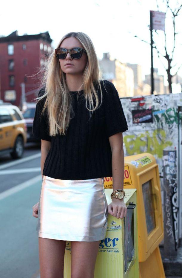 metallic-mini-skirt-street-style