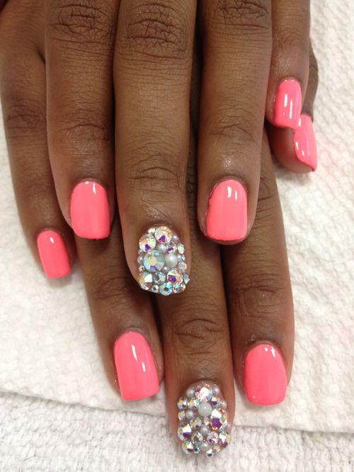 hot pink nails with diamonds - photo #41