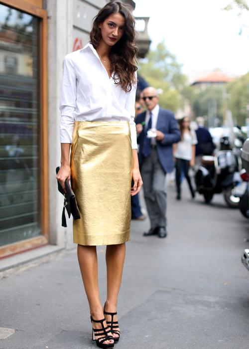 street-style-metallic-skirt