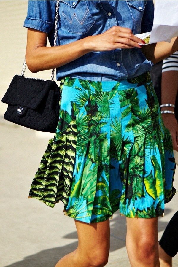 skirt-tropical-print